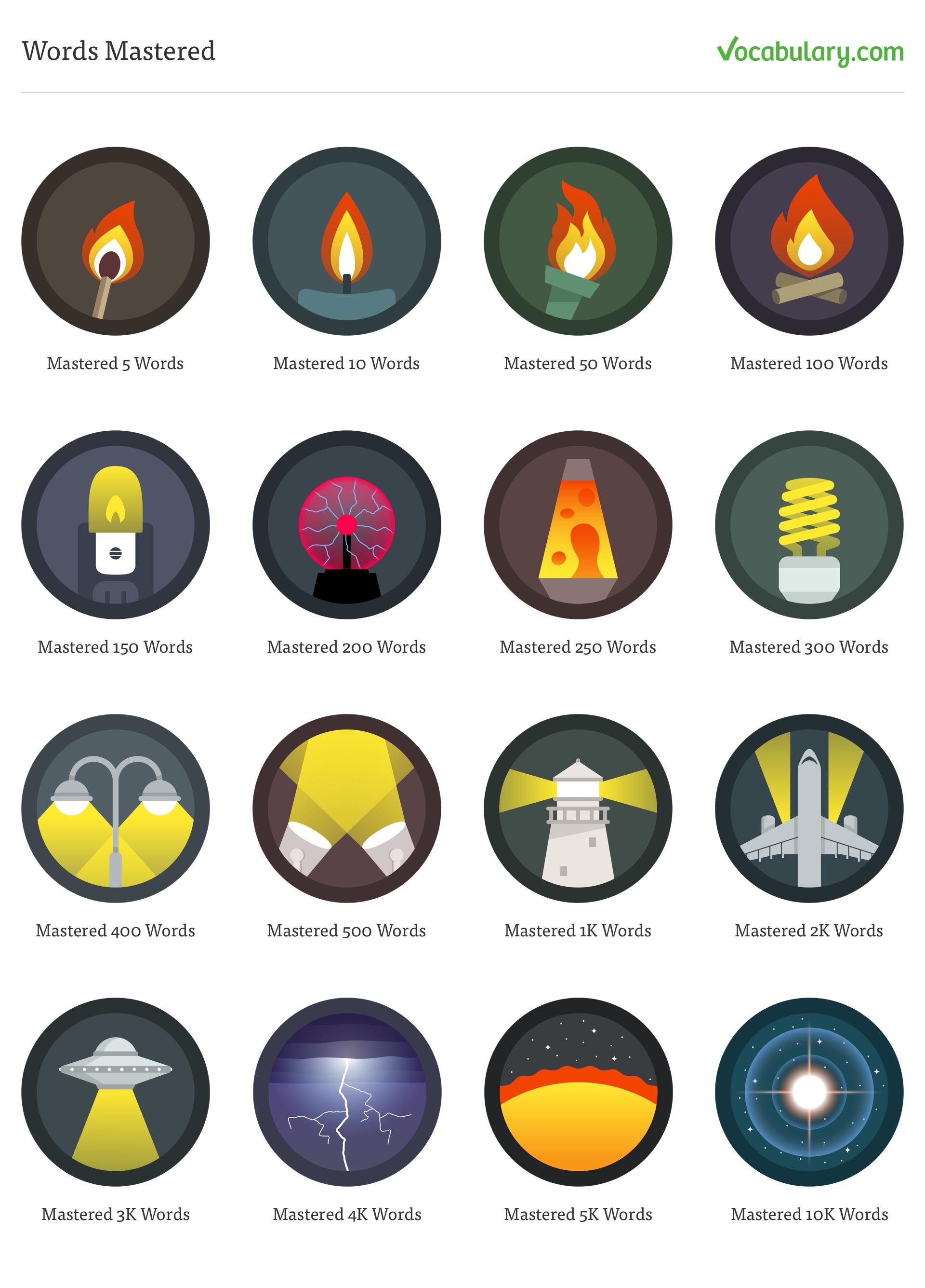 The final set of Words Mastered badges for Vocabulary.com